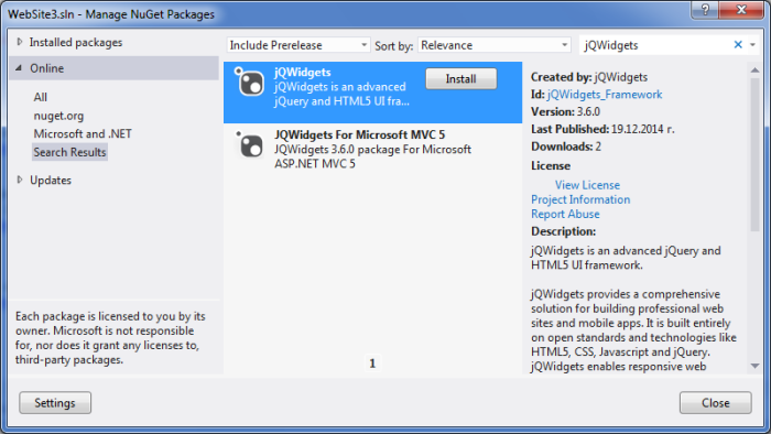 Installing the jQWidgets NuGet Package