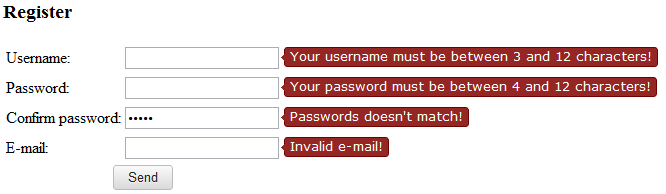 HTML Form Validation with jQuery Validator Plug-in